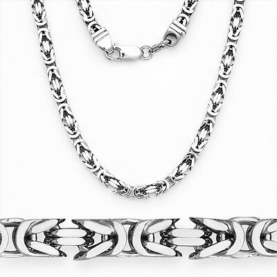 Men/Womens Italy 925 Silver Byzantine Link Italian Chain Necklace w/ Rhodium 6mm