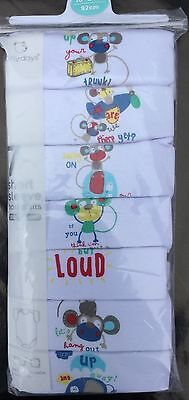 Baby Girl or Boy 7 Pack White Short Sleeve Bodysuits with Monkey and Loud detail