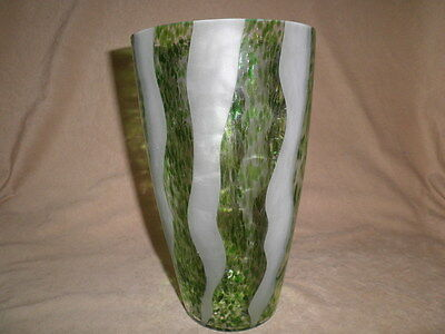 "9 3/4""  Oil Spot Cameo Art Glass Vase Green Spots With Frosted Stripes"