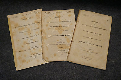 Lot of 3 Message President United States Andrew Jackson 1832 1829 1835
