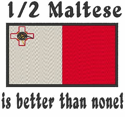 1/2 Maltese is better than none! Malta Flag  Baby Bodysuit Embroidered