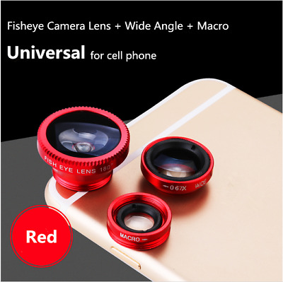 3in1 Red Fisheye Wide Angle Macro Camera Clip-on Lens For iPhone Phone Tablet US