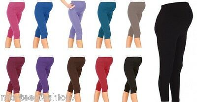 Womens Cropped Maternity Cotton Leggings Comfort Warm Pregnancy Wear UK 6-28