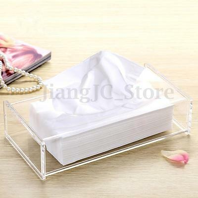 Acrylic Clear Transparent Rectangular Tissue Box Cover Case Holder Paper Storage