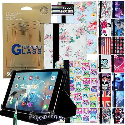 Folding Leather Stand Tablet  Cover + Tempered Glass Screen Protector For iPAD