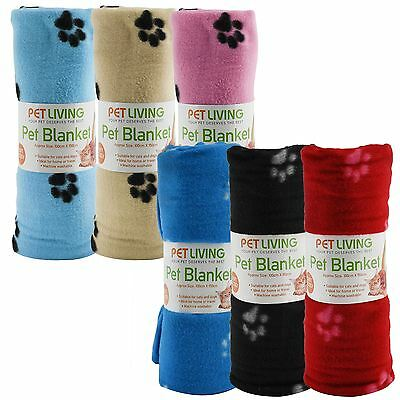 Pet Dogs Puppy Cat Soft Touch Fleece Blanket 100 x 150cm Paw Print Animal Throw