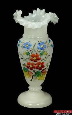 """Vtg Tall White Opaque Ruffled Top Hand Painted Flowers 13 1/4"""" Bristol Vase L7Y"""