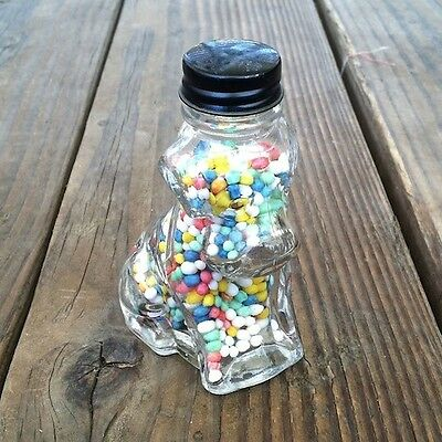 Vintage Original CUTE DOG GLASS CANDY Jar Bottle Container FULL 1940s