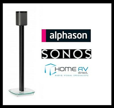 Alphason AS1003B Play 1 Glass Floor Stand / Mount for Sonos PLAY:1 Single Black