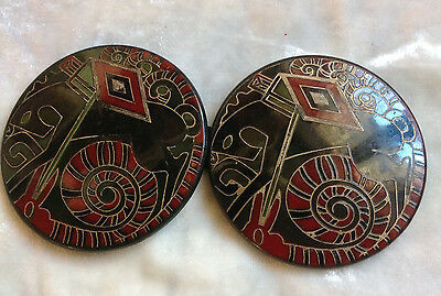 Vintage 1930 Art Deco Celluloid Hand Painted  Horse Buckle Gio' Ponti Design