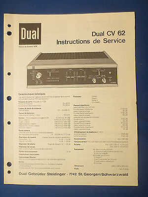 Dual Cv62 Integrated Amplifier Service Manual Original Factory Issue French