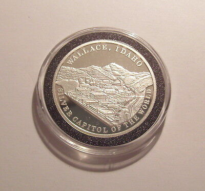 1984 Wallace Idaho Silver Capitol of the World 1 Oz. .999 Silver Proof Round