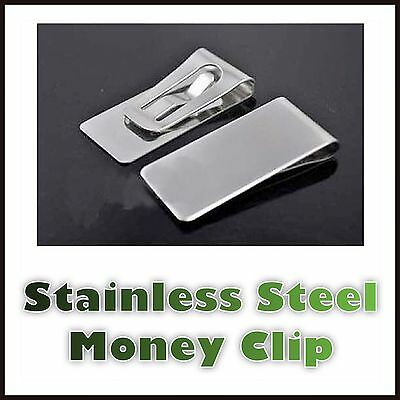 Mens Stainless Steel Money Clip Metal Silver Cash Note Thin Holder Groom Wedding