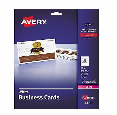 "Avery (5371) Business Cards Laser Business Cards 2"" x 3 1/2"" White - 250 Count"