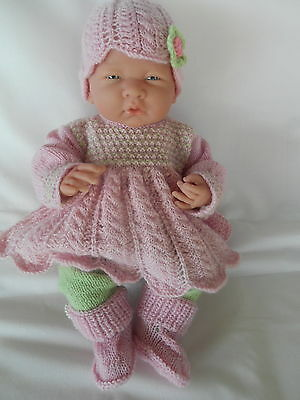 "Hand knitted dolls clothes (Four piece set) to fit 36cm ""Boutique NewBorn"" doll"