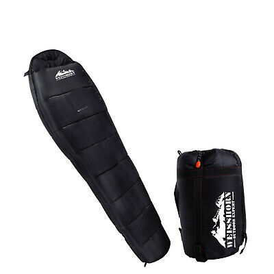 NEW -10 to 10°C Compact Outdoor Camping Thermal Sleeping Bag Black w/ Carry Bag