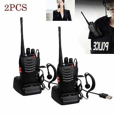 2PCS Baofeng Walkie Talkie Long Range 2 way Radio UHF 400-470MHZ 16CH Earpiece