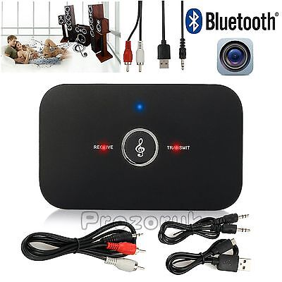 Wireless Bluetooth Stereo Music Transmitter Receiver 2 in1 Adapter 3.5mm RCA AUX