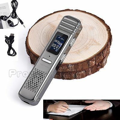 Digital Sound Voice Recorder 8GB Rechargeable Dictaphone MP3 Player Record MIC