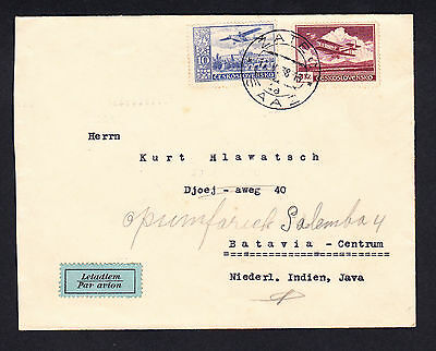 Czechoslovakia to Netherlands Indies 1938 Cover to Batavia Centrum Java