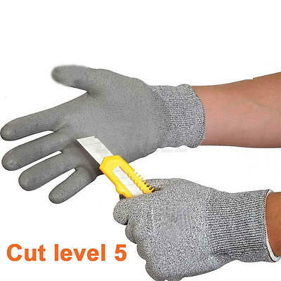 Safety PU Glue Cut Proof Stab Resistant Mesh Butcher Work Gloves Builders Garden