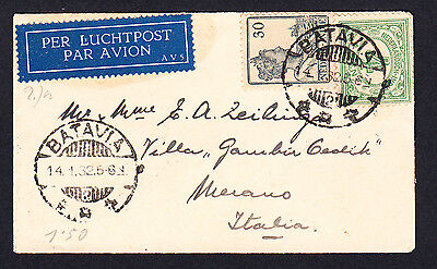 1932 Netherlands Indies to Italy  Cover Batavia Centrum Java to Milano