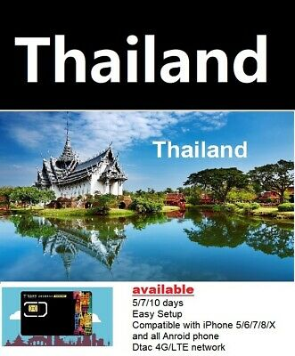 Travel to Thailand/Phuket - 7 days Prepaid Travel sim DTAC 4G/LTE network