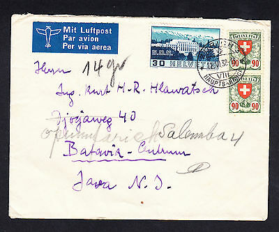 1938 Switzerland Netherlands Indies Airmail Cover Zurich to Batavia Centrum Java