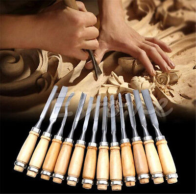 12pcs Wooden Handle Carving Chisels Set Knife for Basic Woodcut Working DIY Tool
