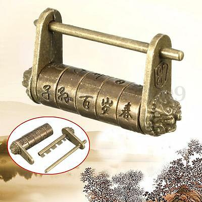 Chinese Retro Vintage Old Style Wish Lock Password Brass Carved Word Padlock/Key
