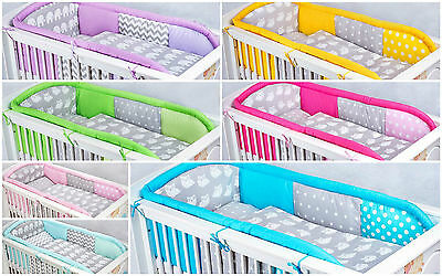 3 Pcs Pieces Luxury Cot Cotbed Bedding Nursery Set Duvet Long Allround  Bumper