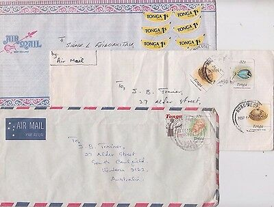 Stamps Tonga various on group of 5 airmail covers all addressed to Australia