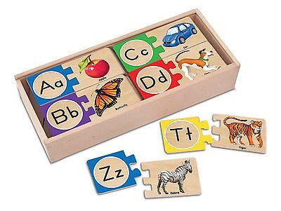 Melissa & Doug Self-Correcting Letter Puzzles [2541] 52 wooden pieces, XTS