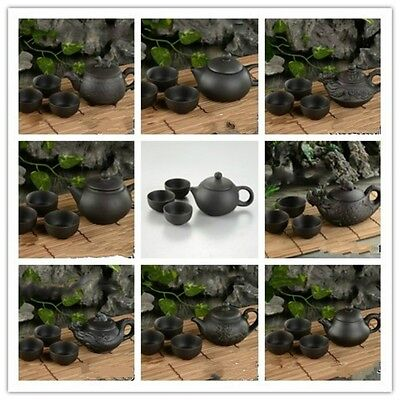 Chinese Tea Set with Tea Pot & 3 Cups Oriental Yixing Fine Purple Clay Elegant