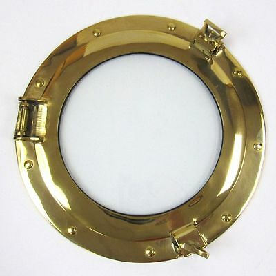 "Solid Brass Ship's Cabin Porthole Window 11"" Round Glass Nautical Wall Decor"