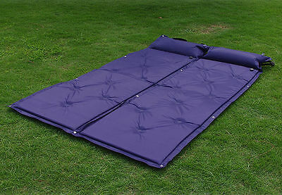 Self Inflating Double Camping Roll Mat Inflatable Pillow Matress Camp Bed Airbed