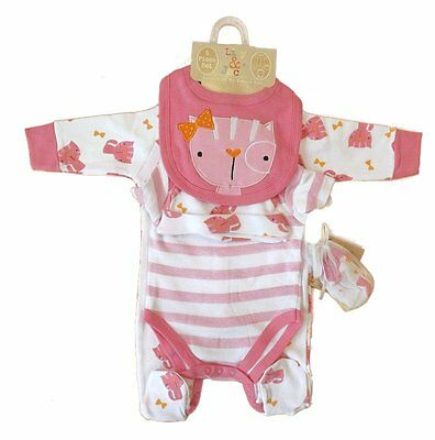 5 Piece Baby Girl Layette Clothing Gift Set Kitten Cat Design by Lily & Jack