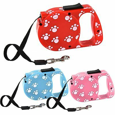 Retractable Dog Lead 3m Long White Paw Print Pattern Pet Dog Puppy Up To 10KG