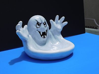 Ghost Candy Dish, Halloween Decor, Ghosts, Hand-painted, Plaster,Black and White