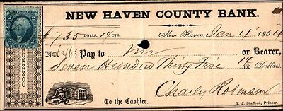 The New Haven County National Bank Check 1864