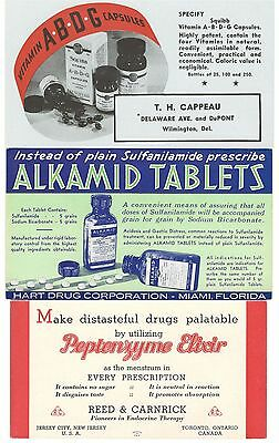 22 Ink Blotters Mostly Pharmaceutical 1920's & 1930's