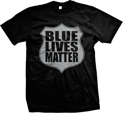 Blue Lives Matter Shield- Support Police Officers Cops Mens T-shirt