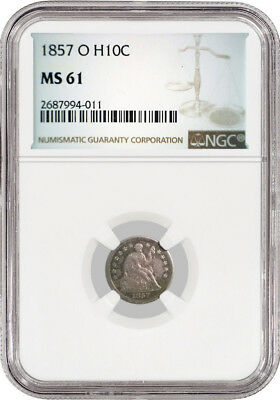 1857 O Seated Liberty Half Dime H10C  NGC MS61