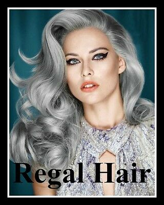 """20""""NAIL TIP/U TIP 1G #SILVER-GREY  5Agrade HUMAN REMY HAIR EXTENSIONS  STRAIGHT"""