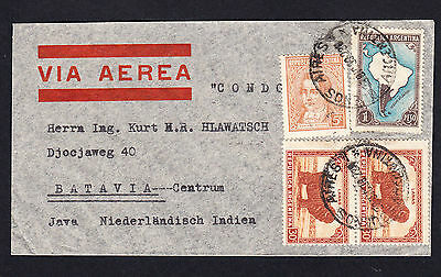 1938 Argentina to Netherlands Indies Cover  to Batavia Centrum Java