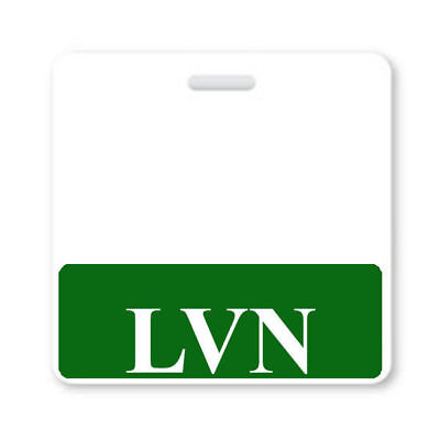 LVN Badge Buddy with Green Border - Licensed Vocational Nurse ID Badge Backer