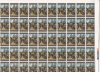 Stamps Norfolk Island 1970 Christmas 5c issue in complete sheet of 50, MUH