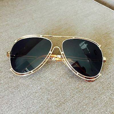 Black Aviator Gold Metal Frame Oversized Geek Nerdy Vintage Retro Sunglasses 80S