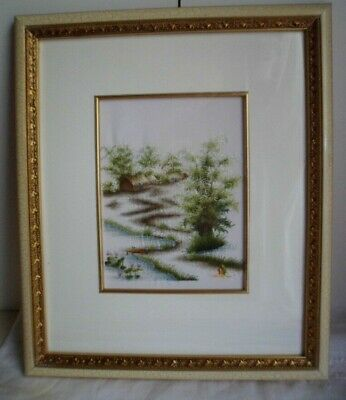 Vintage Vietnamese Silk Embroidery Gold & French Cream Frame Embroidered Scene
