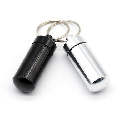 2x Waterproof Pill Box Case Container Capsule Bottle Keyring Keychain Travel UK